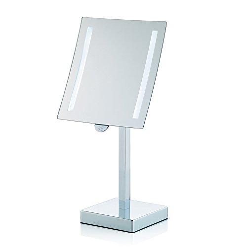 Kela 20627 Sade Miroir Cosmétique sur Pied avec Lumière Grossissant 3x Métal Chromé 28 x 20,5 x 44 cm