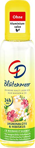 Desodorante CD con atomizador de mar de flores, sin aluminio, para 24 horas de protección y sensación de frescor con jazmín y hibisco, 1 paquete de ahorro (1 x 75 ml)