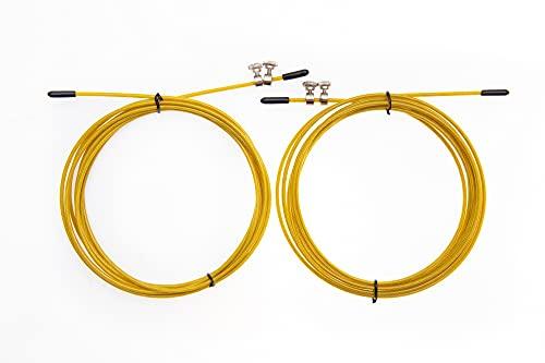 2 pcs pack Cable de repuesto para comba de saltar - Crossfit, Fitness, boxeo. Recambio para cuerda comba de entrenamiento - 3 metros, Acero de 2,5 mm recubierto por PVC Amarillo.