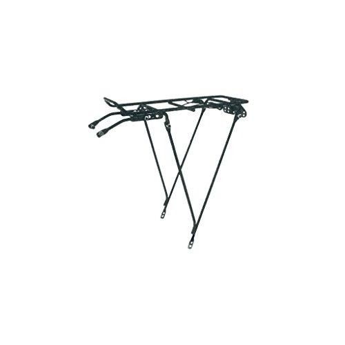 Portaequipajes trasero de acero negro ajustable para bicicleta 26 a 28