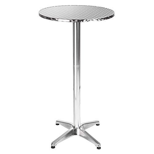 BAKAJI Tavolino in Alluminio per Esterno 60 x 70/110cm Regolabile in Altezza Tavolo Bistrot Ripiano Top in Acciaio Inox Rotondo per Bar Casa Giardino Ristorante Silver (Rotondo)