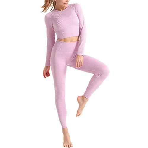 Yingshu Conjunto 2piezas Conjunto Yoga Manga Larga Sin Costuras Acanalado Mujer Ropa de Entrenamiento Legging Deportivo Cintura Alta