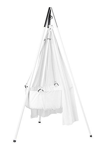 Leander - Set culla con materasso in schiuma morbida e confortevole, ganci e treppiedi, colore: Bianco