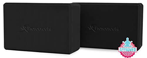 "Prosource Fit Foam Yoga Blocks Set of 2, High Density EVA Yoga Bricks, Sturdy Yoga Prop Large Size 4""x 6"" x 9"" (Black)"