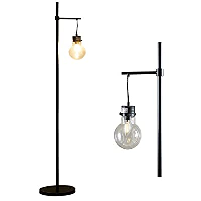 Industrial LED Floor Lamp with Bulb,Metal Lamp,UL Certified Ceramic E12 Socket,Minimalist Design for Decorative Lighting, Stand Lamp for Living Room Bedroom Reading Office,Black