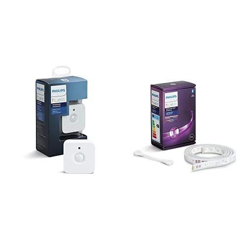 Philips Hue Hue Sensor de Movimiento, Enciende las Luces con Detección de Presencia + 2 x Lightstrip Tira Inteligente LED 1 m, con Bluetooth, Luz Blanca y Color, Compatible con Alexa y Google Home