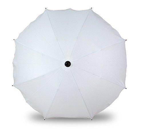 Sombrilla universal para cochecitos y sillas de paseo deportivas, paraguas con soporte universal, protección UV 50+, color blanco
