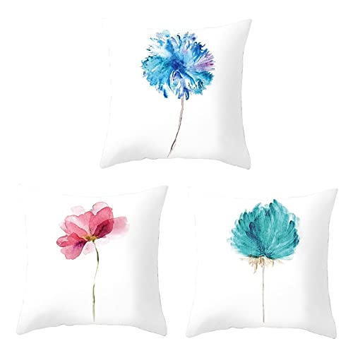 Agoble Funda Almohada Hotel, Cojines Sofa Poliéster 3 50X50cm Funda Cojin Blanco Una Flor