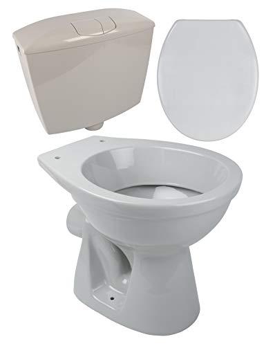 Calmwaters® - Tiefspülendes Stand-WC mit waagerechtem Abgang im Set mit Spülkasten & WC-Sitz in Manhattan-Grau - 99000182