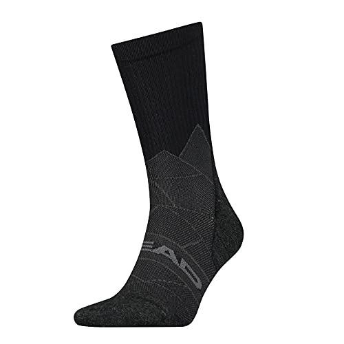 HEAD Unisex-Adult Crew (1 Pack) Hiking Socks, Black/red, 39/42