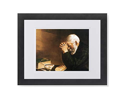 Daily Bread Man Praying at Table Grace Religious Wall Picture W/W Matted Framed Art Print