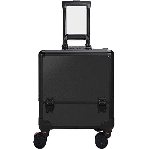 WANZIJING Grand Aluminium Chariot de beauté Make Up Case Box Voyage cosmétique Vanity Case Boîte de Rangement Noire,A