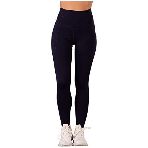 Glook Leggings de Cintura Alta para Mujer | Workout Running Pantalones de Yoga con Control de Barriga con Bolsillos | Leggings con Dos Bolsillos Laterales discretos | Azul Marino, Tamaño: 36