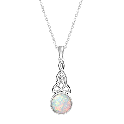 FANCIME October Birthstone Sterling Silver Created Fire Opal Necklace Celtic Knot Necklace Irish Necklace Infinity Opal Necklace Fine Jewelry for Women (Celtic Knot Necklace)