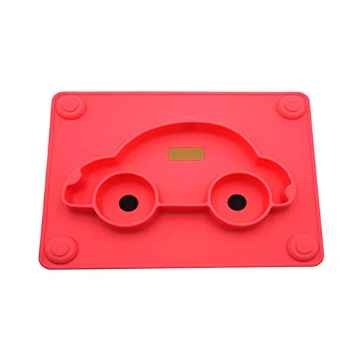 CMXUHUI Baby's Favorite, Cute Style Children Silicone Suction Placemat, Portable Non-Slip Baby Feeding Bowl BPA-Free, Dishwasher and Microwave Safe - Best Baby Gift,Blue (Color : Red)