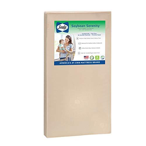 """Sealy Baby Soybean Serenity Foam-Core Waterproof Standard Toddler & Baby Crib Mattress - Soy Foam, 52"""" x 28"""""""