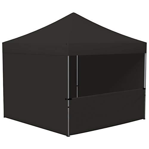 Vispronet® Profi Faltpavillon/Faltzelt Basic 3 x 3 m, Schwarz ✓ 3 volle Zeltwände und 1 Halbhohe Wand ✓ Pop Up ✓ faltbar ✓ versch. Farben & Größen
