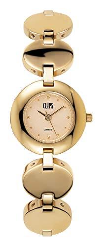 Clips Damer analog klocka med metallarmband bälte Guld
