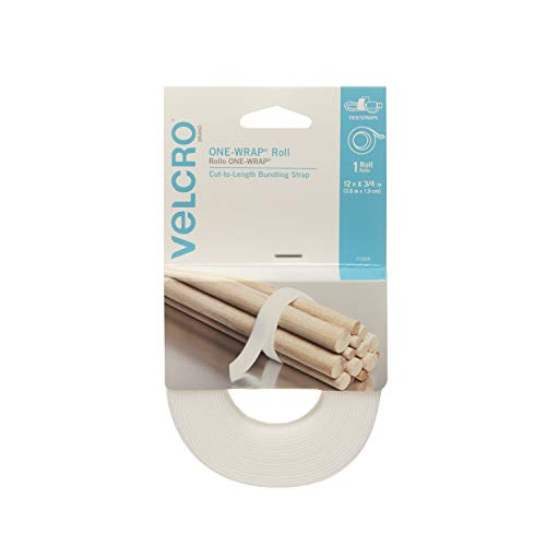 VELCRO Brand ONE-WRAP Bundling Ties – Reusable Fasteners for Keeping Cords and Cables Tidy – Cut-to-Length Roll, 12ft x 3/4in, White (91808)
