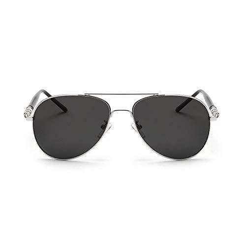 YUHUA Gafas de Sol Unisex Aviator, Gafas de Sol Piloto para Hombre con Montura Metálica Ultraligera Gafas de Sol para Hombre,Silver