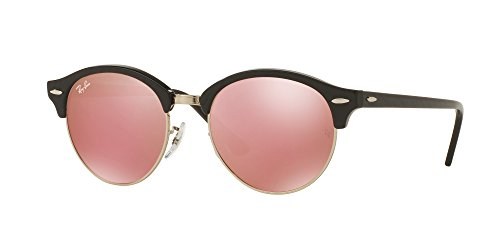 RAY-BAN RB4246 - 197Z2E SUNGLASSES TOP WRINKLED BLACK ON BLACK/LIGHT BROWN MIRROR PINK 51MM