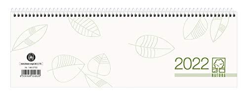 Tischquer-Kalender 2022 29,6x9,9 1W/1S Blauer Engel - Bürokalender 30x10 - 1 Woche 1 Seite - Stundeneinteilung 8-20 Uhr - 146-0700-1