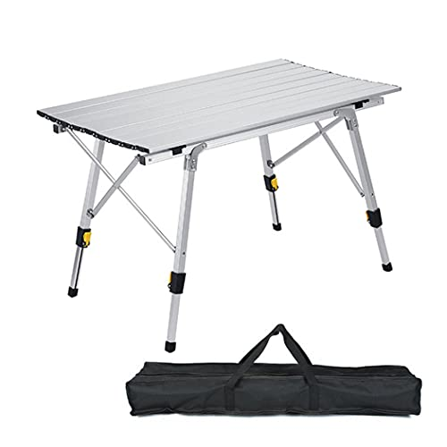 Mesa plegable portátil para acampada ajustable de aleación de aluminio, mesa auxiliar de camping, escritorio de mesa para barbacoa al aire libre, playa, senderismo, pesca (grande: 120 x 70 x 73 cm)