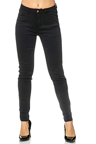 Elara Damen Stretch Hose Skinny Jeans Elastisch Chunkyrayan G09 Black 46 (3XL)