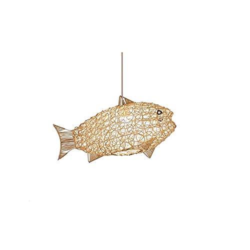 LLLKKK Lámpara de techo colgante con forma de pez hecha a mano, de ratán, estilo tailandés, para decoración de bar o café
