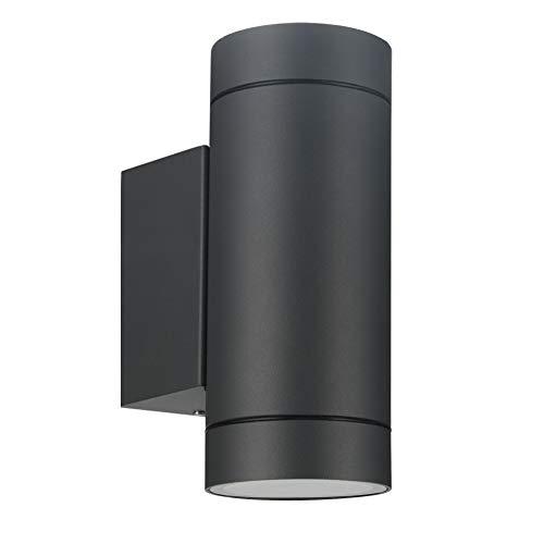 LASIDE Aussenleuchte Aussenlampe Wand, GU10 Anthrazit Aluminium Up and Down Außenlampe Außenleuchte, IP44 Spritzwassergeschützt Wandlampe Wandleuchte Lampe Aussen Außen Leuchte für Garten Terrasse