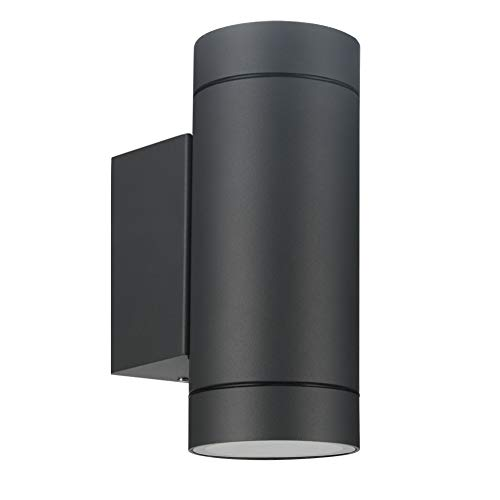 LASIDE Aplique Pared Exterior, GU10 Antracita Aluminio Up Down Lámpara Lampara Exterior Pared, IP44 Impermeable Luz Exterior Iluminación para Balcón, Garaje, Terrazas, Patio, Jardin