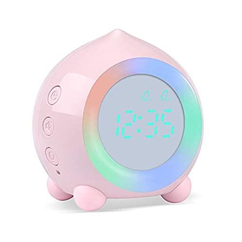 DWAC Kids Smart Alarm Reloj Bluetooth Función 7 Colores Cambio de Dormitorio Estudiante Wete up Digital Pantalla Tabla Reloj Temporizador (Color : Pink, Size : Ordinary)