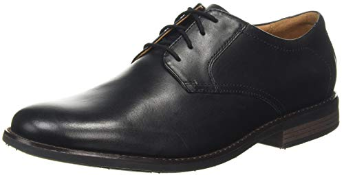 Clarks Becken Lace, Oxford Plano Hombre, Black Leather, 41 EU Wide