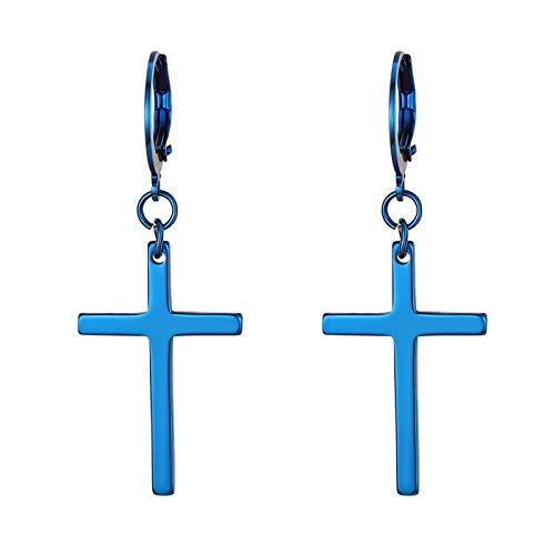 Flongo Pendientes de cruz largo pendientes de aros pequeños, Pendientes de acero inoxidable color azul,Pendientes de mujer hombre hip hop unisex, Regalo Navidad,1par