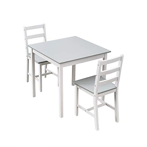 Panana Wooden Dining Table Set With 2 Chairs in Choice of Colours Dining Room Furniture Set (White with Grey)