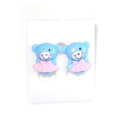 Bambini orecchini Idin–blu Ballerina Orso in rosa tutu