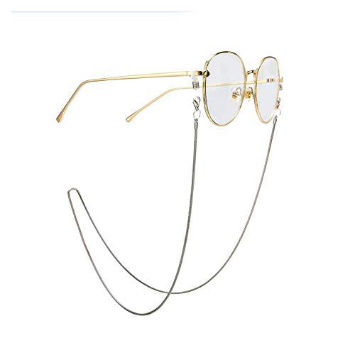 ZLDDE Moda Cadena de Serpiente Simple Hombres y Mujeres de Plata de Color Plata Gafas de Sol Gafas Soportes Correas de Gafas de Cordones Accesorios para Gafas (Color : Silver)