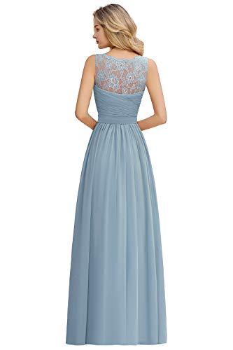 MisShow Damen elegant Chiffon Abschlusskleid Ballkleider Abendkleider V Ausschnitt Festlich Brautjungfernkleider Hell-Blau 36