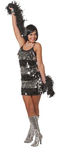Karneval-Klamotten Charleston Kleid 20er Jahre Silber schwarz Charleston Kostüm Damen-Kostüm