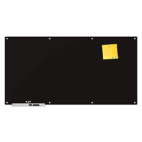 Magnetic Glass Eraser Board - Eased Corners Whiteboard by Fab Glass and Mirror (48' x 96', Black)