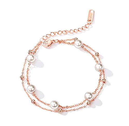 Pulsera de perlas de acero inoxidable para mujer, pulsera ajustable simple regalo de cumpleaños y vacaciones (oro rosa)