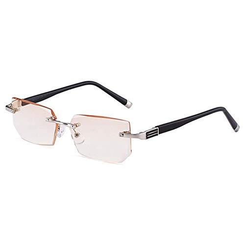 WYBF Gafas de Lectura Hombre Anti Rayos Azules Anteojos de Presbicia Antifatiga Sin Marco Gafas