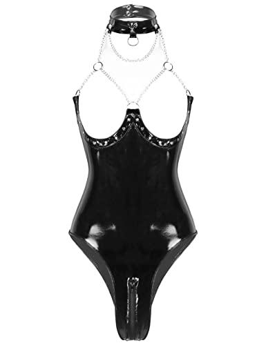 FEESHOW Damen Glänzend Bodysuit Ouvert Lack Leder Catsuit Trikot Stringbody mit Reißverschluss Brustfrei Dessous Clubwear S-XXL Schwarz 3XL