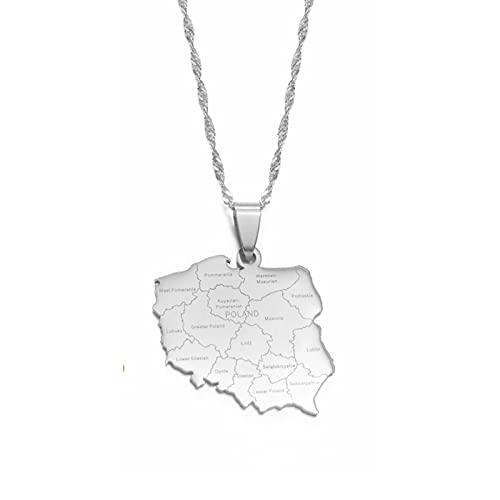 LIUZIXI Collares con Colgante Polska - Collares con Dijes Étnicos Joyería Patriótica De La Amistad - con Nombres De Ciudades Colgante De Mapas De Países De Polonia para Mujeres Y Hombres, Platea