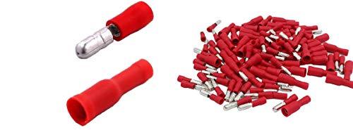 Shentian Kabelschuhe x 100 - Rundstecker Rot x50 / Rundsteckhülsen Rot x50 - Quetschverbinder, Isolierte - Für Kfz, Elektronik und Hobby