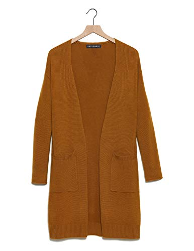 State Cashmere Mid-Length 100% Pure Cashmere Open Cardigan Long Sleeve Sweater for Women (Caramel Cafe, Small)