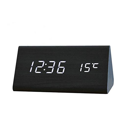 JieMiTe LED Digitaluhr Holz Weckertisch Sound Control Elektronische Uhren Desktop USB/AAA Powered Home Tischdekoration-B.