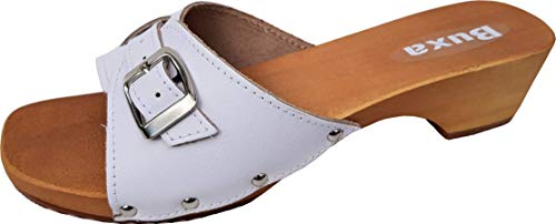 Lusy011 Buxa Holz (e) Clogs - Pantolette Gr.35-36-37-38-39-40-41-42 Weiß, Echt Leder, mit Schnalle (39)
