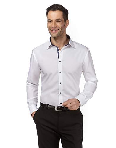 Vincenzo Boretti Herren-Hemd bügelfrei 100% Baumwolle Regular-fit Uni-Farben New-Kent Kragen - Männer lang-arm Hemden für Anzug Krawatte Business Hochzeit Freizeit weiß/dunkelblau 39-40