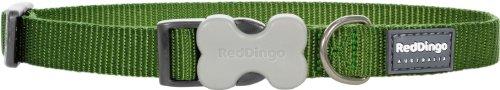 Red Dingo - Collare per cani verde tinta unita, 15 mm x 24 – 36 cm, taglia S